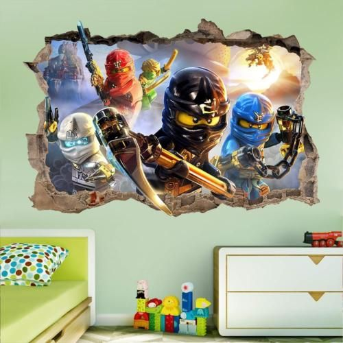Lego Ninjago Smashed Wall Sticker D Bedroom Removable Vinyl Art - Lego wall decals vinyl