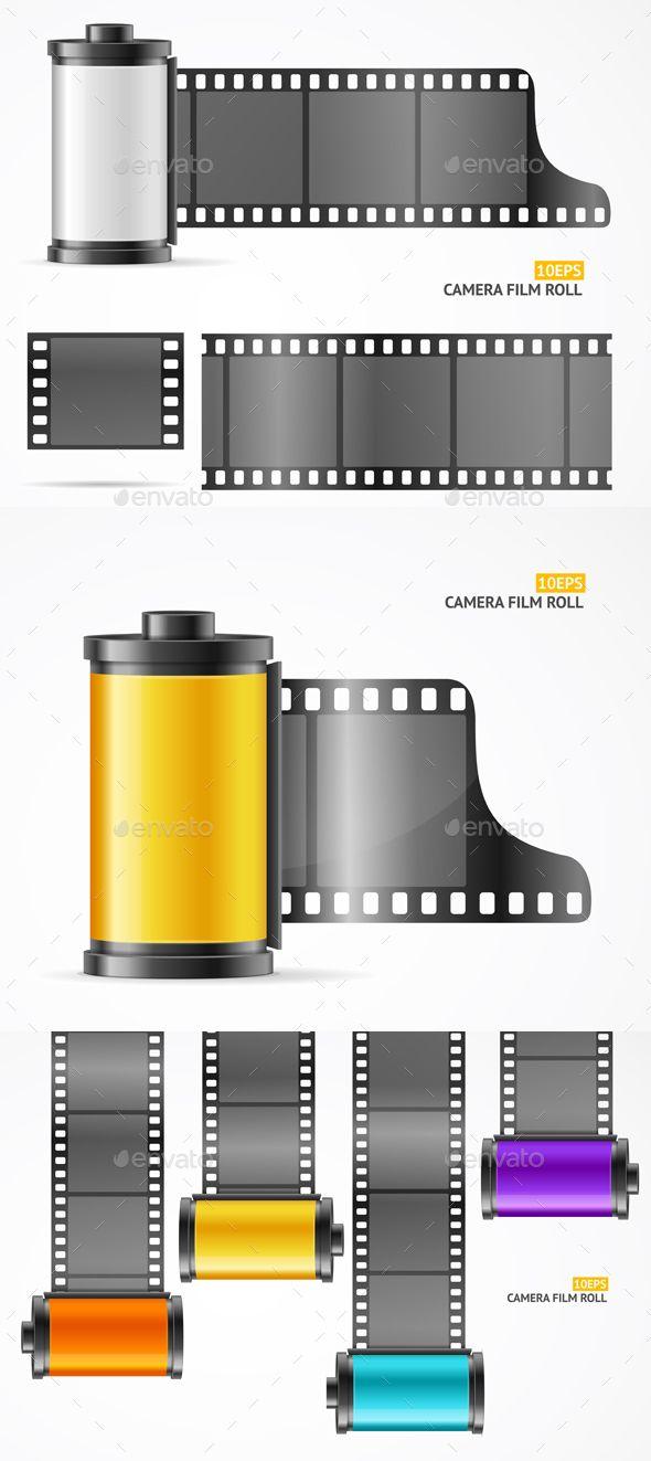 Camera Film Roll Cartrige Set Vector Film Roll Film Concept Camera Roll Film