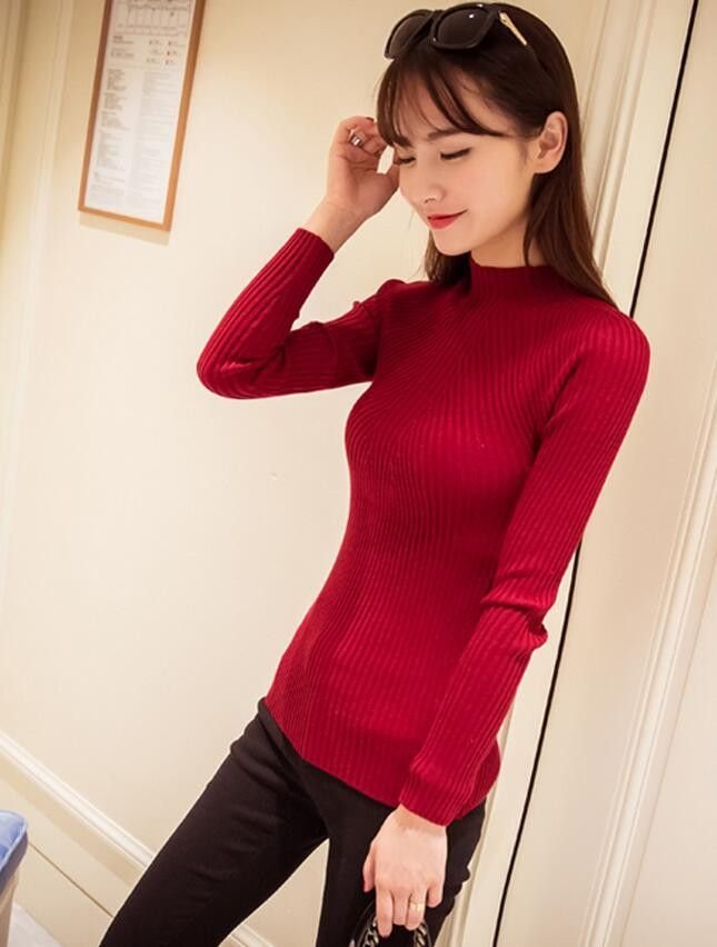 Spring Fashion Women sweater high elastic Solid Turtleneck sweater ...
