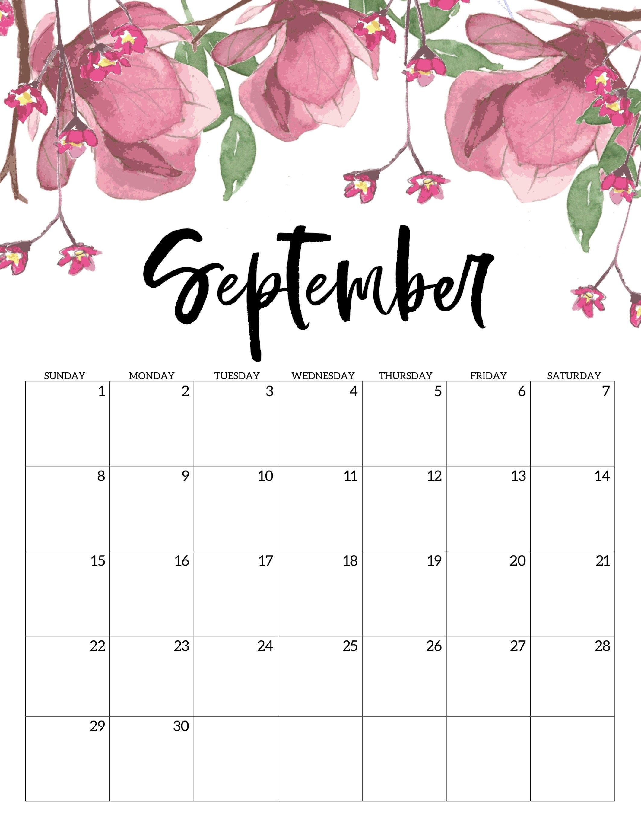 photograph about Printable Calendars Free referred to as No cost Printable Calendar 2019 - Floral - Paper Path Design and style