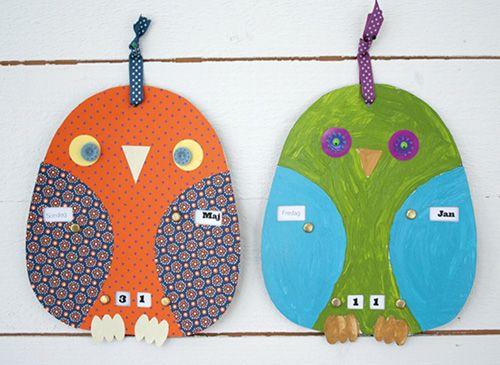 Diy Owl Calendar Everything Owl Pinterest Owl Kids Craft