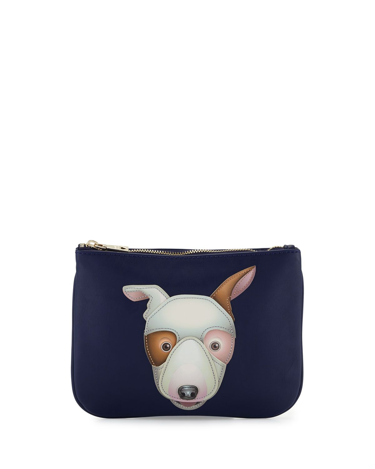 Love Moschino Dog Appliqué Leather Pouch, Blue