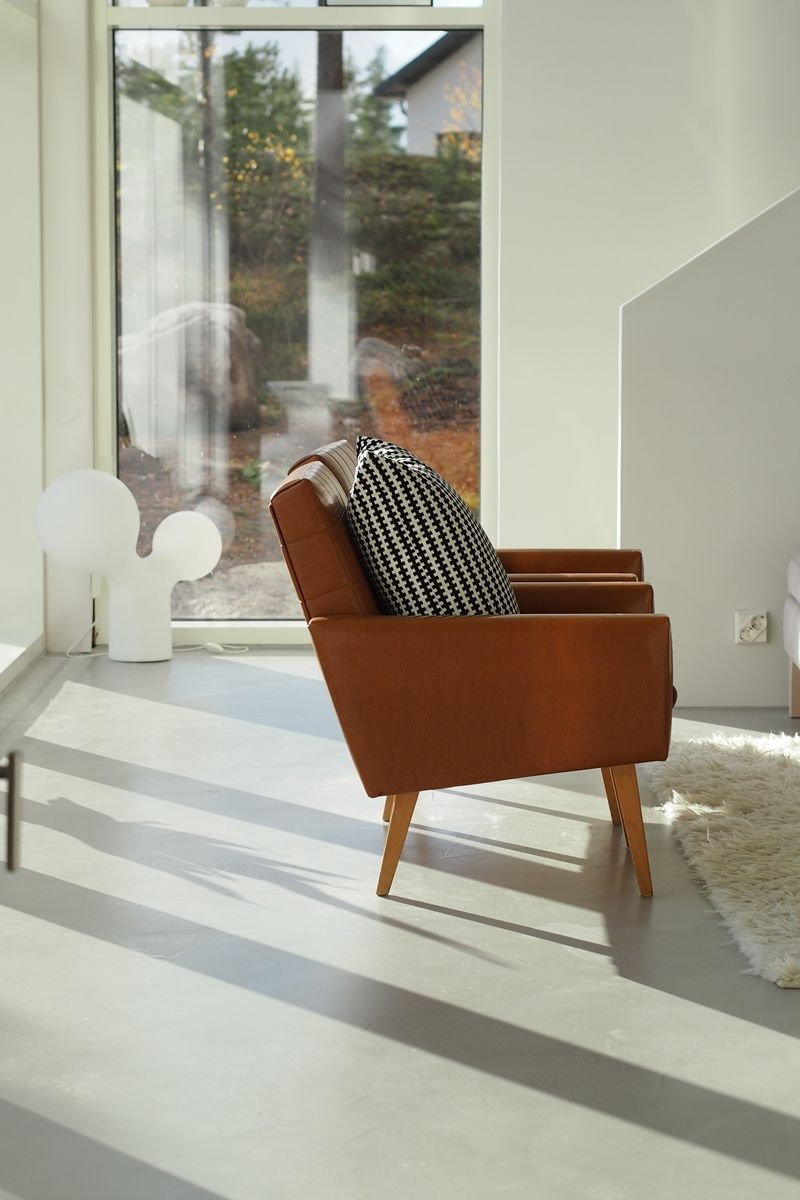Concrete Floor And Vintage Chairs Home Leather