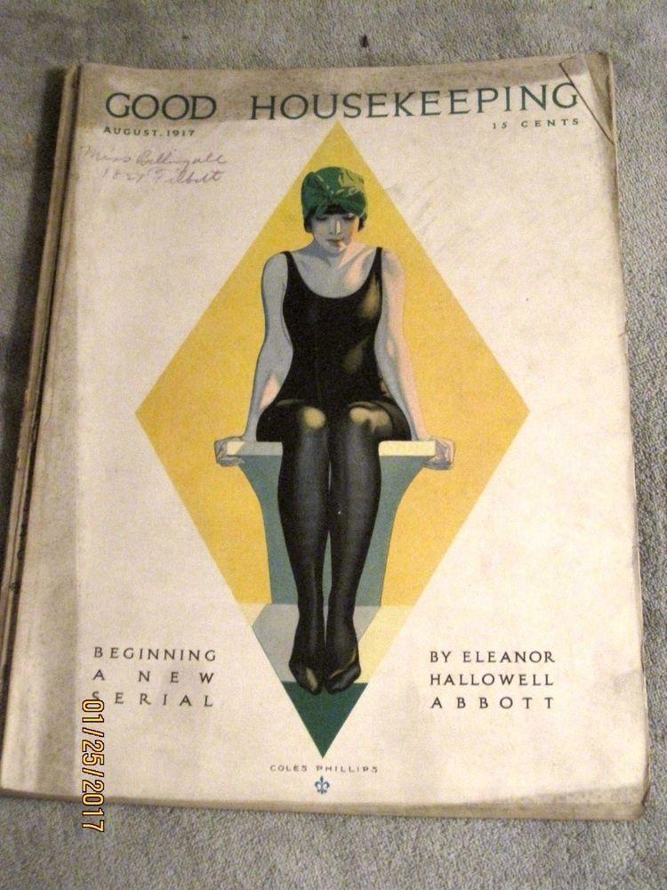 Good Housekeeping 8/1917 Coles Phillips woman in swimsuit~the Kewpies~W.T. Benda