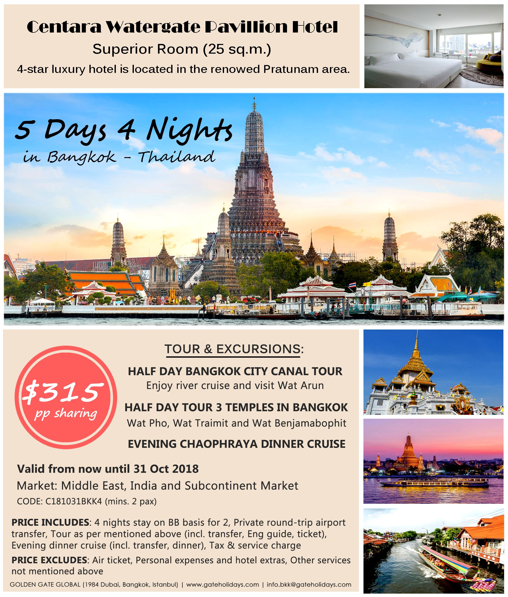 Explore Bangkok, Thailand for 5 days 4 nights and stay at