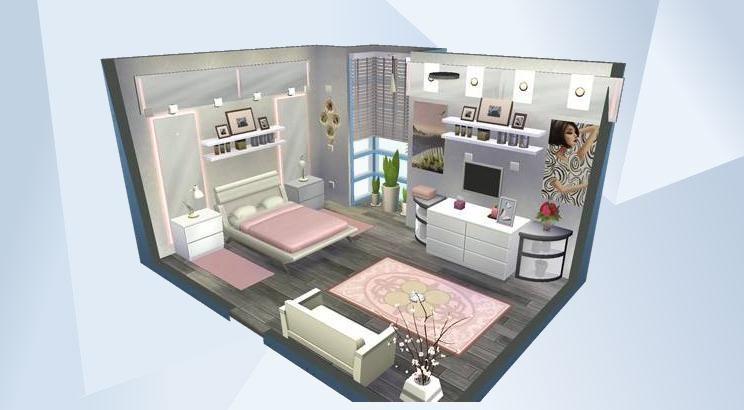 Mira esta habitaci n en la galer a de los sims 4 video for Diseno de apartamento de una habitacion