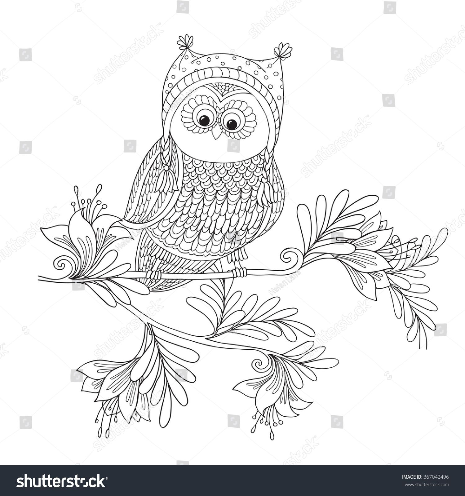 Coloring book for adult and older children. Coloring page with cute ...