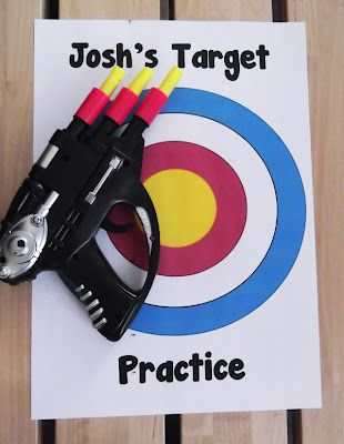Free printable kids targets - aiming those toy launchers and guns in a  safer direction.