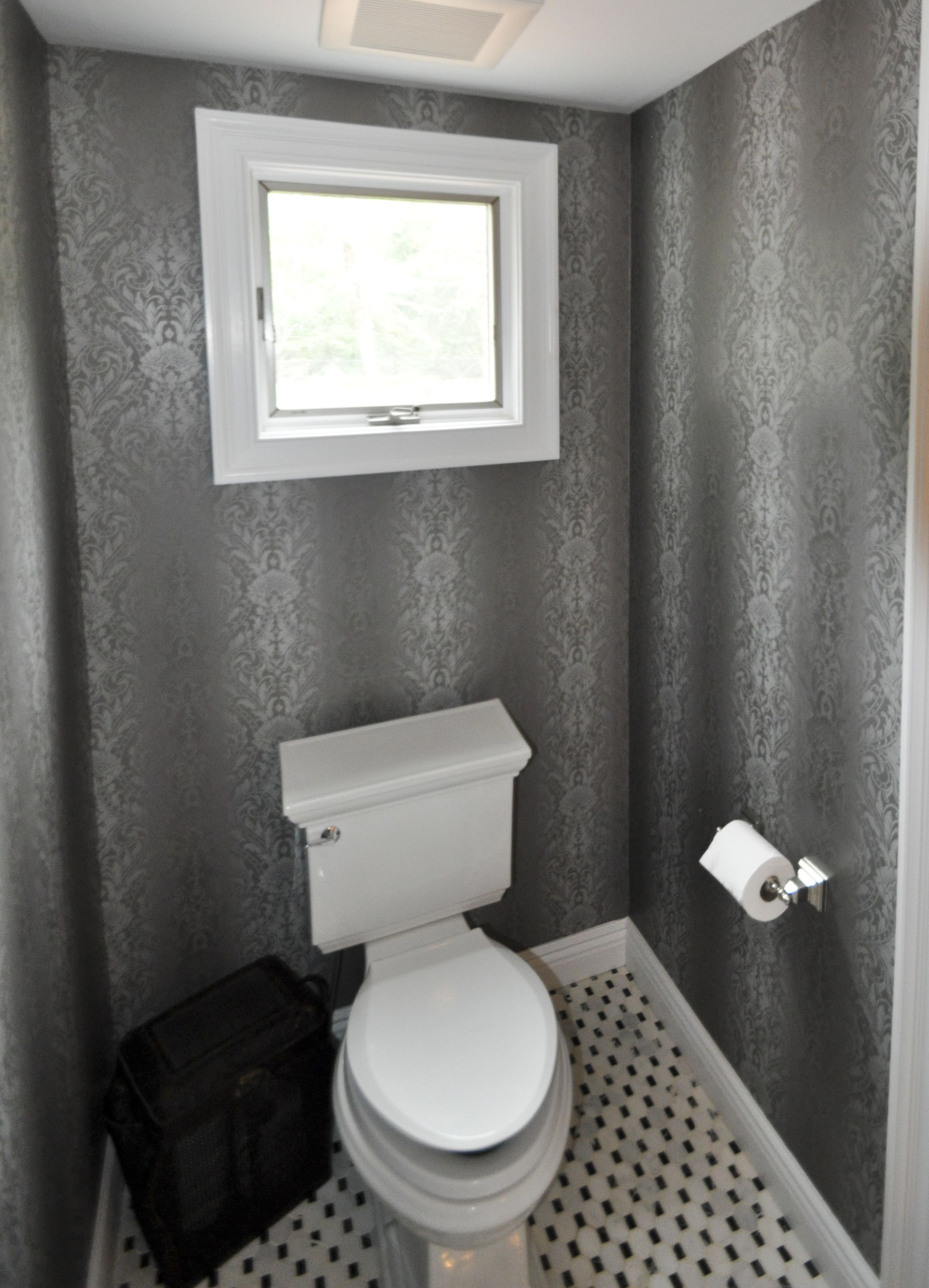 1 2 Bathroom With Toilet Centered Under Window And Panasonic Whisper Exhaust Fan Bathrooms