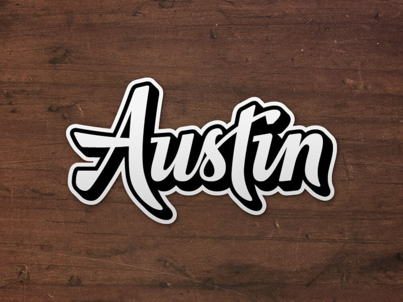 Austin logo die cut sticker