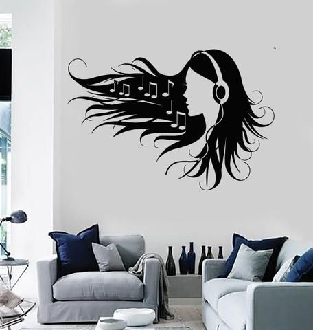 Wall Stickers Vinyl Decal Teen Girl In Headphones Music Rock Pop - Wall decals for teenage girl