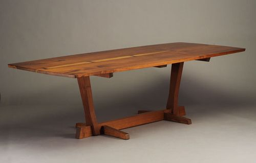 George Nakashima Conoid Dining Table 1982 With Two Book Matched Walnut Planks Fastened Five Rosewood Erfly Joints