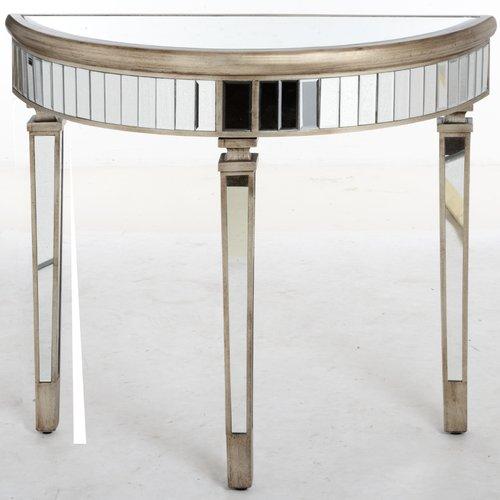 Rosdorf Park Conley Half Moon Mirrored Console Table Mirrored