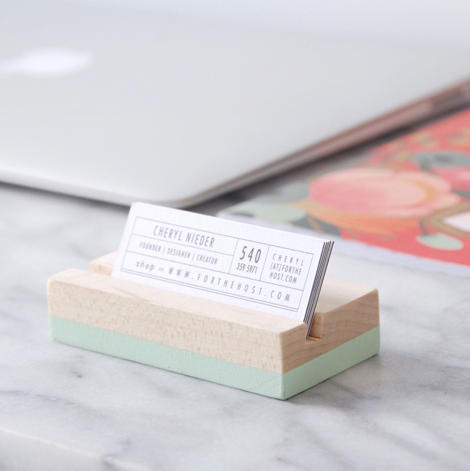 Wood Business Card Holder - Mint | Hand Painted | Desk Accessory ...