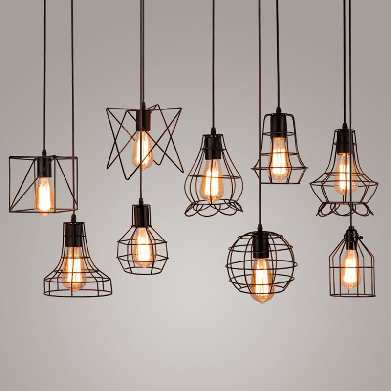 Vintage Industrial Metal Cage Pendant Light Hanging Lamp Edison Bulb ...