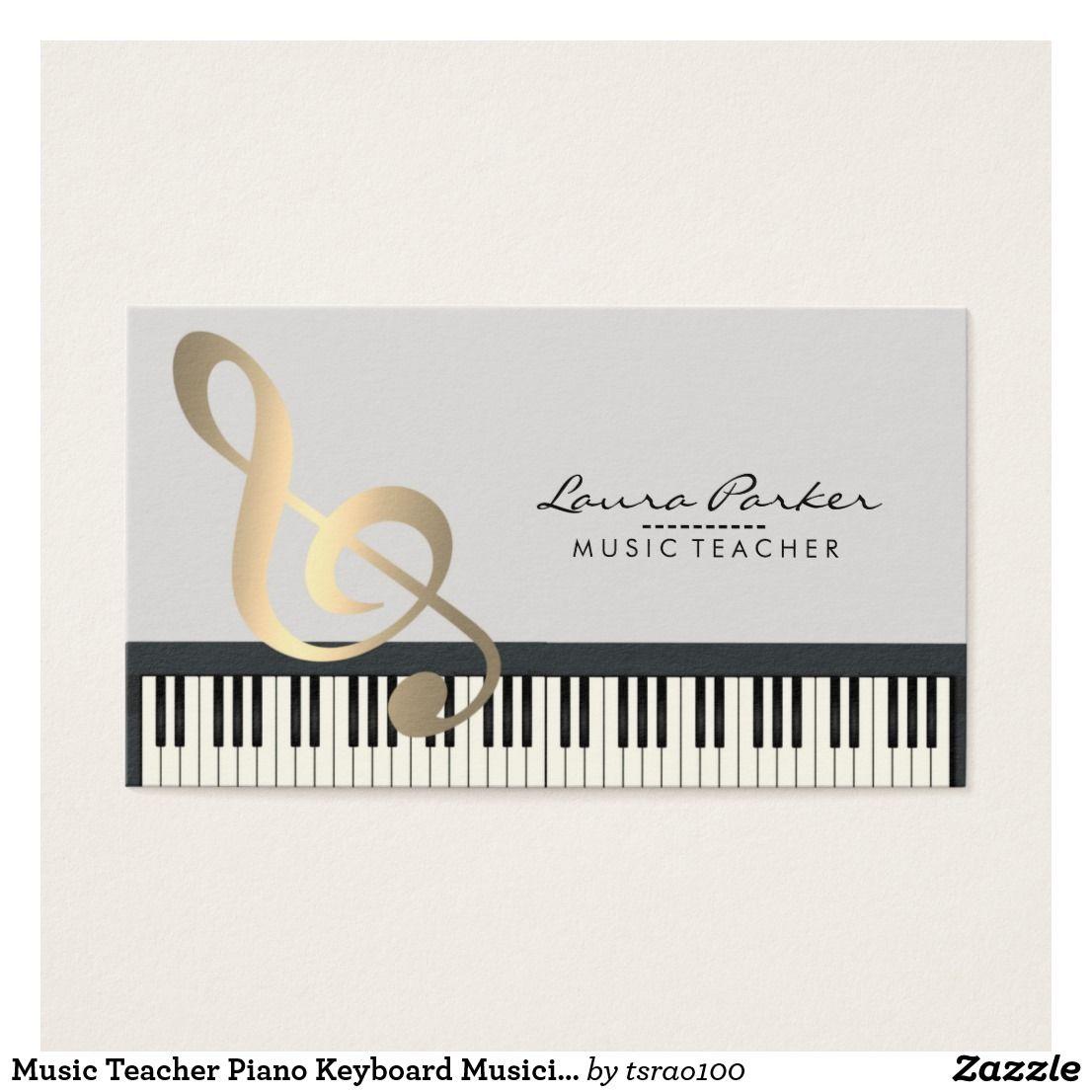 Music Teacher Piano Keyboard Musician Pianist Business Card Music