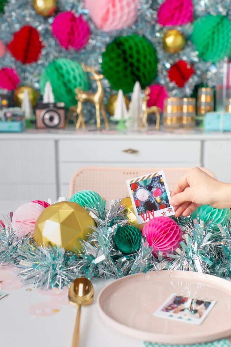 A Super Fun Party Favor And Place Setting Idea For Your Next Holiday Party Via Oh Joy In Partne With Images Flower Centerpieces Holiday Parties Christmas Decorations
