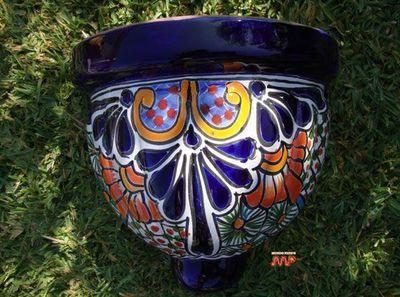 "TALAVERA Ceramic Sconce Hanging Wall Planter Fine Pottery 10"" Mexican Art Decor on eBay!"