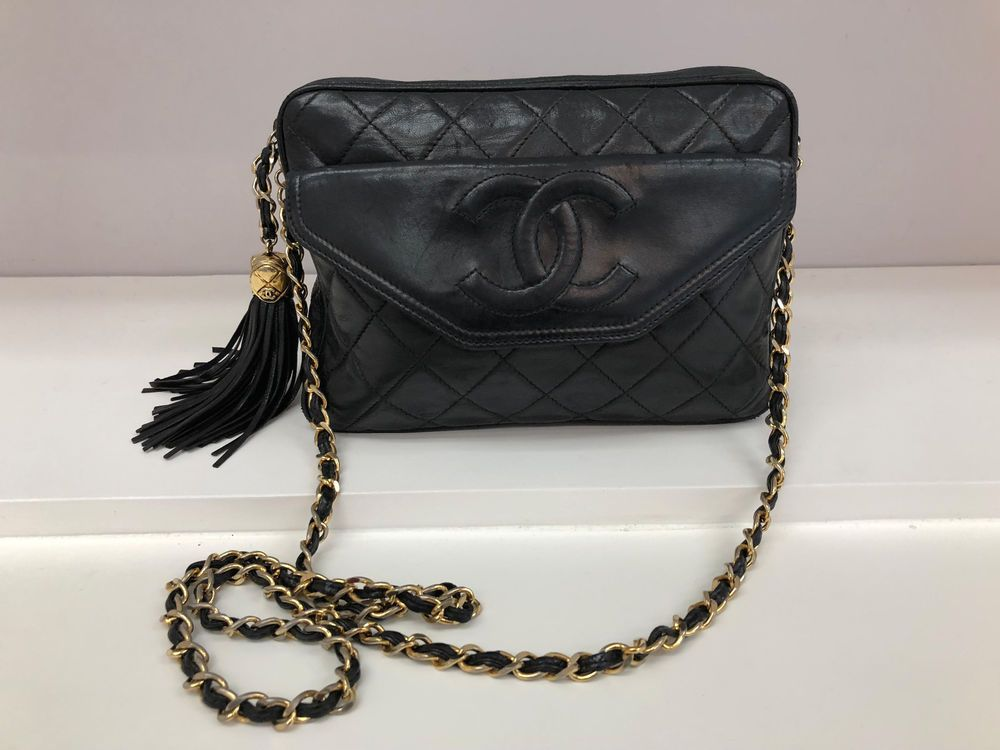 2ecbb03c7845 Iconic Vintage Chanel Black Lamb Quilted Fringe Camera Leather Bag #CHANEL # ShoulderBag