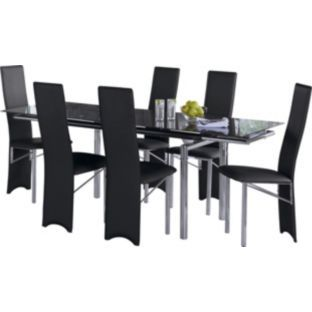 Buy Hygena Savannah Black Glass Dining Table And 6 Black Chairs At