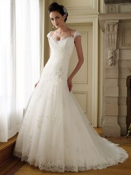 Dropped Waist Wedding Dress With Shoulder Sleeves Lace Tulle A Line Asymmetrical Drop