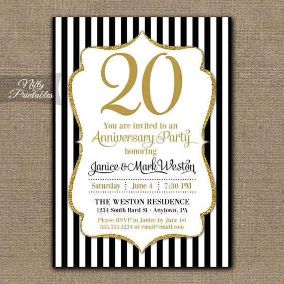 20th anniversary invitations printable