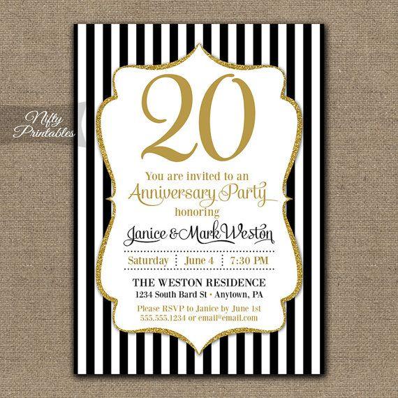 20th anniversary invitations printable