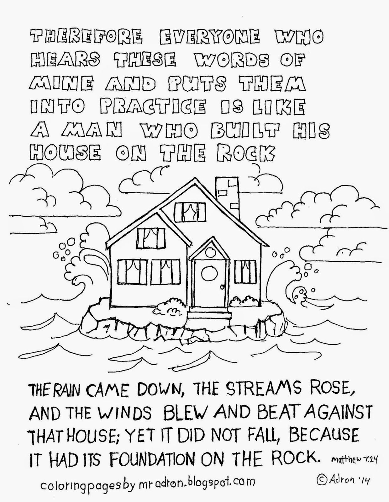 Coloring Pages for Kids by Mr. Adron: Matthew 7:24, The Man Who ...