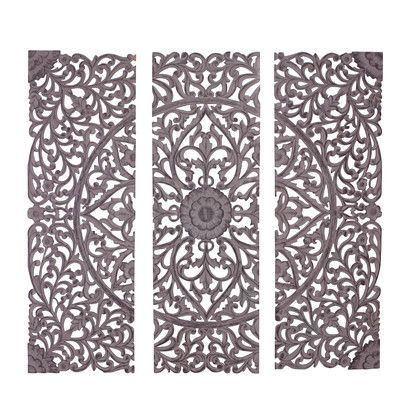 Cole Grey 3 Piece Wood Carved Wall Decor Set Products Wall