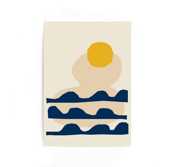 Sunset Geometric Print Wall Art Landscape Sea Prints Ocean Print Large Poster Home Decor Waves Scandinavian Art Print Wall Art Prints Wall Prints