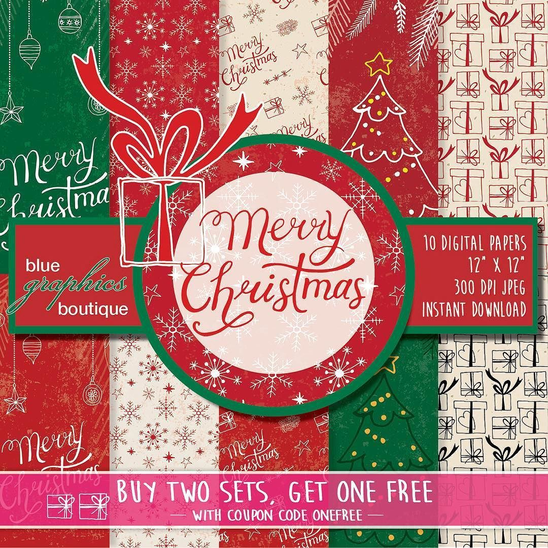 Brand New MERRY CHRISTMAS Digital Paper set - Buy 2 Get 1 FREE. For ...