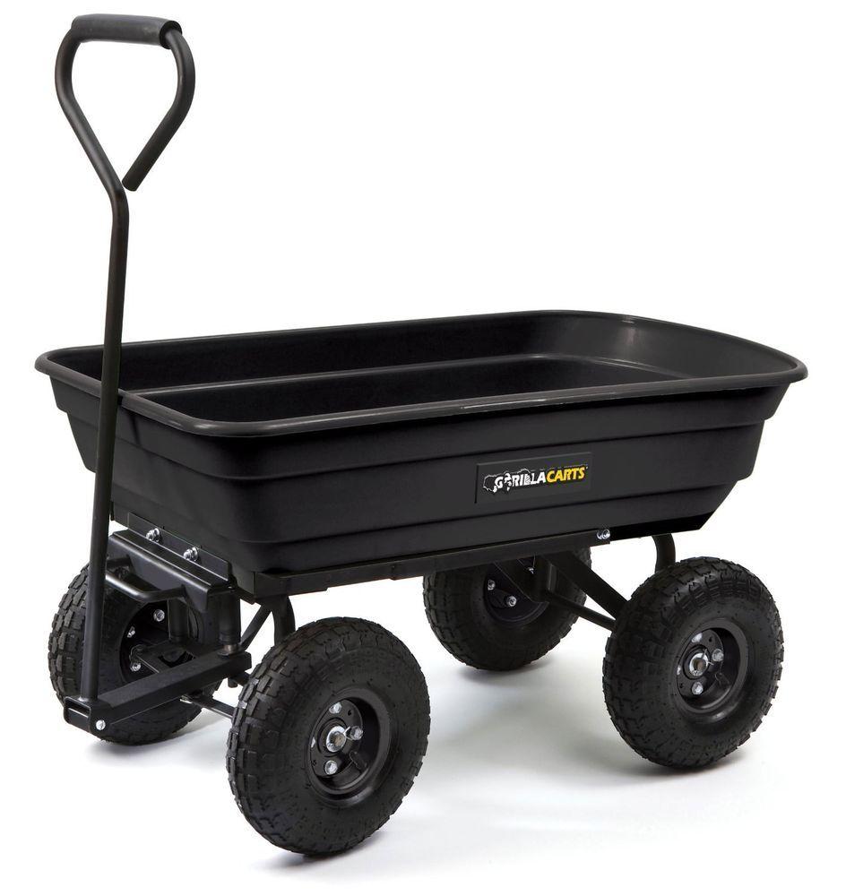 Gorilla Carts Heavy Duty Black Garden Poly Dump 2in1