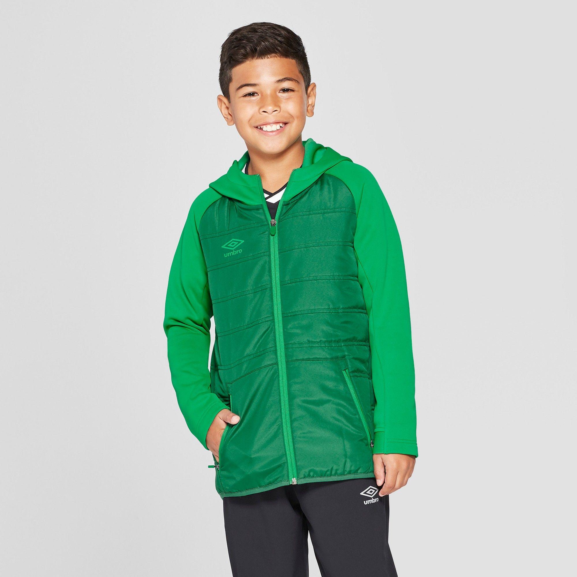 Umbro Boys' Insulated Full Zip Fleece Jacket Green XS