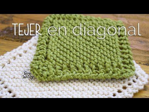 La forma más fácil de TEJER una MANTA: tejido EN DIAGONAL - YouTube ...