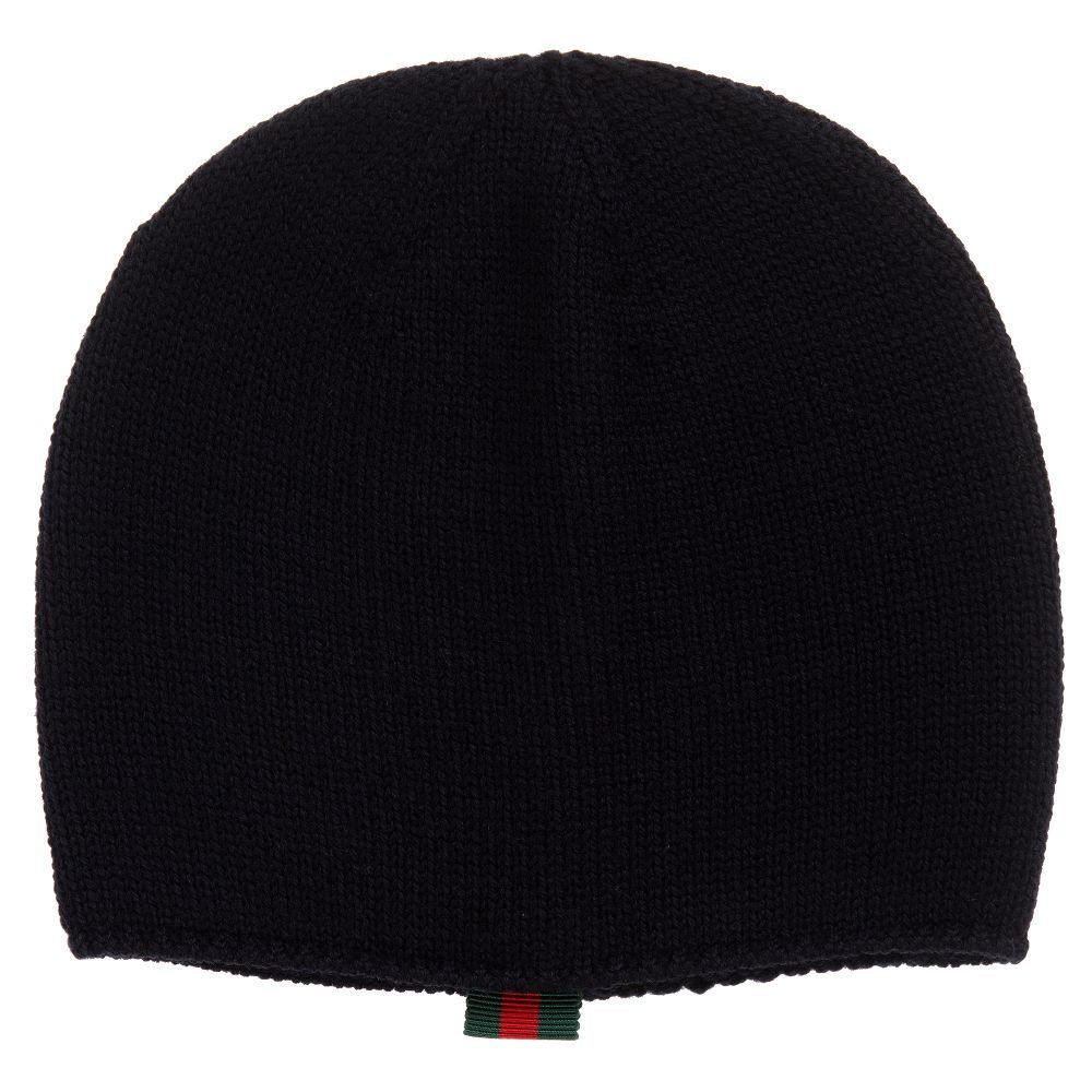 93fa454a6d1 Super soft navy blue beanie hat for baby boys and girls by luxury brand  Gucci.