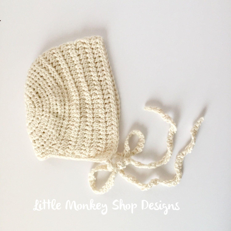 New to LittleMonkeyShop on Etsy: DIY Crochet Pattern Kit Baby Bonnet ...