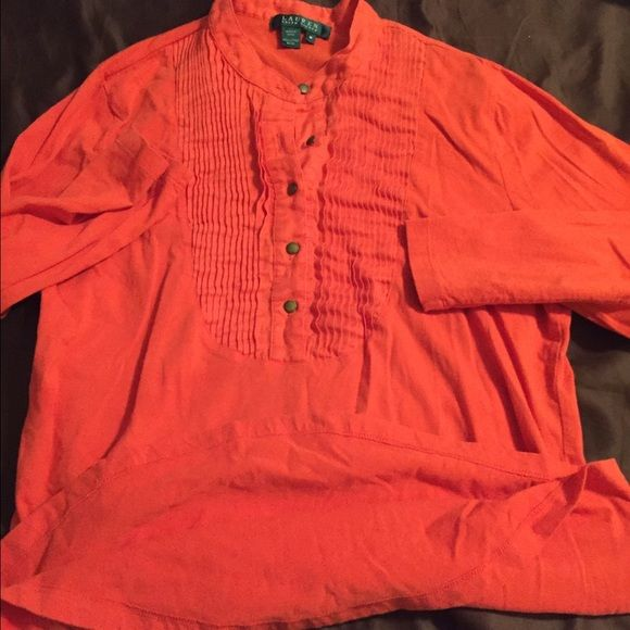 Pretty orange top Half sleeves. Pretty vibrant orange color. Great condition. Washed once . Super cute with jeans Ralph Lauren Tops Tees - Long Sleeve