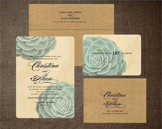 rustic succulent invitation via EstySara Sofia Couturethis