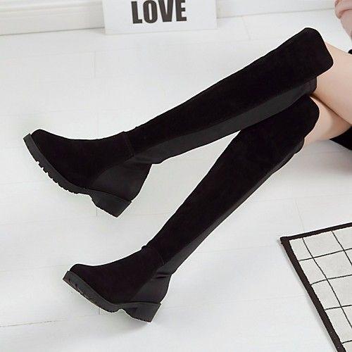 Damskie Skarpetkowe Botki Pu Wiosna Wygoda Botki Czarny 2020 Us 29 99 Winter Boots Women Black Knee High Boots Knee Boots
