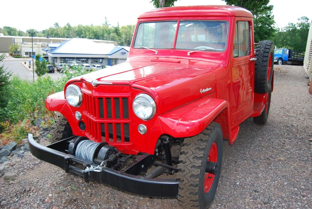 RED OLD TRUCKS | Sales Marquette – This classic restored red Jeep ...