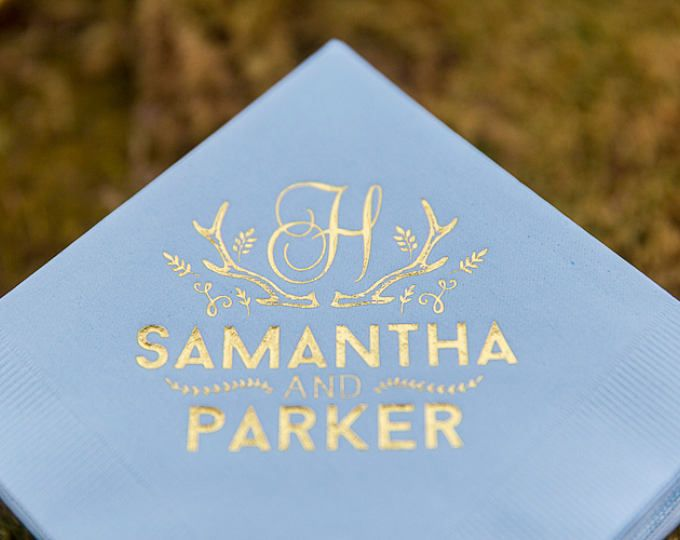 Personalized Napkins Gold Foil Wedding Favors Rustic Beverage