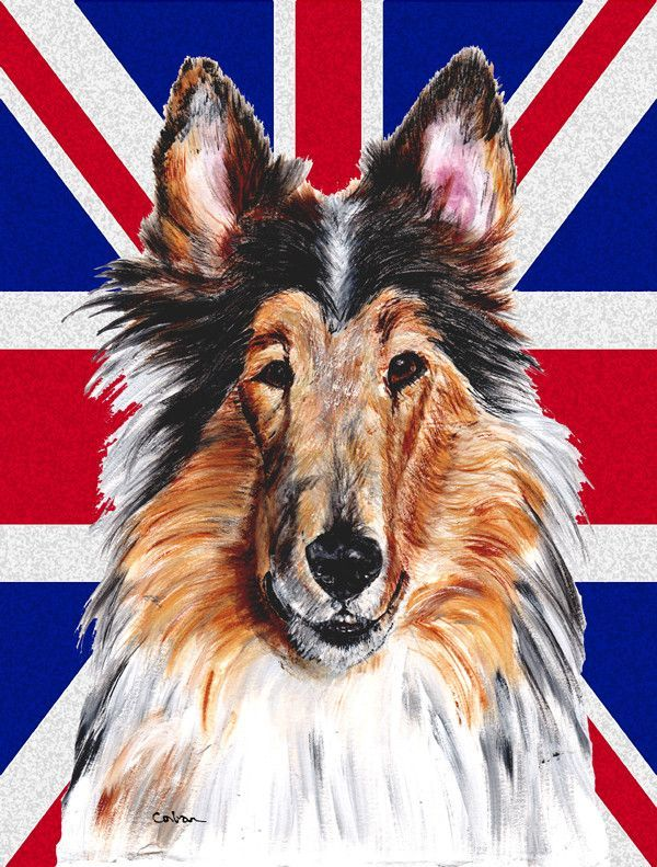 Collie with English Union Jack British Flag Flag Canvas House Size SC9893CHF