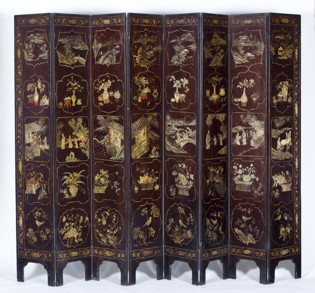 Old Chinese carved lacquered Coromandel screen made during the 19th century. Classic decoration featuring a royal pavilion with aristocrats at leisure. The reverse decorated with panels of landscapes, panels of scholars objects, and panels of birds with flowers.