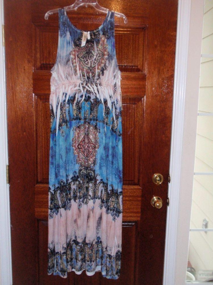 Womens One World Relaxx Maxi Hippie Boho Gypsy Dress 2x xxl ...