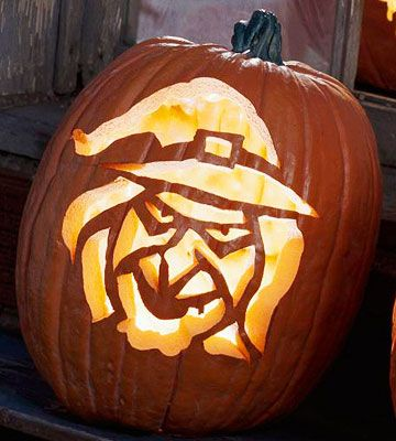 Pumpkin Carving Witch Face Template