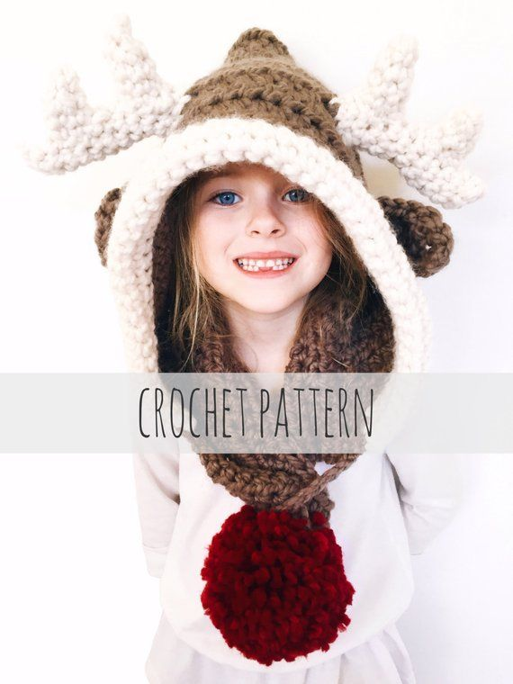 PATTERN for Reindeer Hat Rudolph Hood Cowl Scarf Crochet Toddler Child  Adult    Rudy the Reindeer Ho 8937264bb51