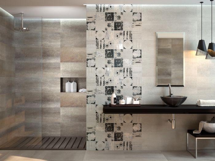 Idee salle de bain styl en couleurs neutres mod le de - Carrelage salle de bains design ...