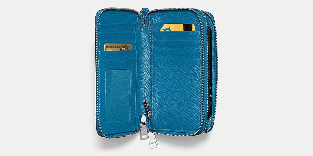 Double Zip Phone Wallet in Embossed Textured Leather BOUGHT