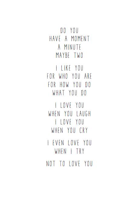 Engels Gedichtje Over Liefde Gedrukt Op Een 300 Grams