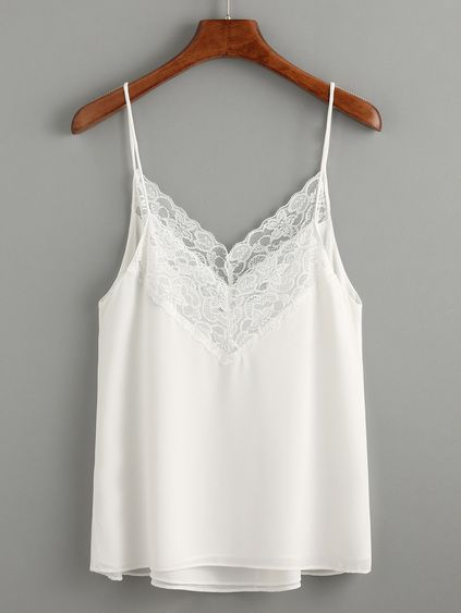 dd4ae9d802 White Lace Trim Chiffon Cami Top | Silk, Satin, Cotton & Lace in ...